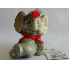 Статуэтка керамика Слоненок с розой и прической