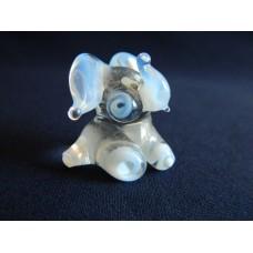Статуэтка стекло Слоненок голубой, прозрачный