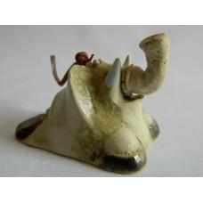 Статуэтка керамика Слон колокольчик бежевый
