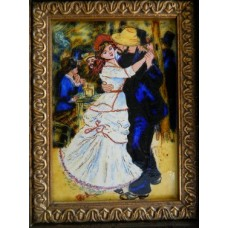 """Картина миниатюра, горячая эмаль, по мот. П.Ренуара """"Танец в Буживале"""""""