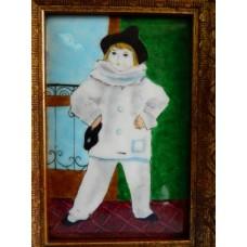 """Картина миниатюра, горячая эмаль, по мот. П.Пикассо """"Поль в костюме Пьеро"""""""