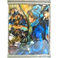 """Картина миниатюра, горячая эмаль, по мот. П.Ренуара """" В театре"""""""