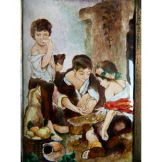 """Картина миниатюра, горячая эмаль, по мот. Бартоломе Эстебан Мурильо """"Мальчики играющие в кости"""""""