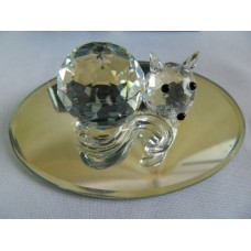 Статуэтка Кот на зеркальце. Boda Crystal Brilliant. Бельгия