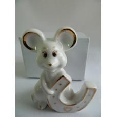Статуэтка сувенир Мышка с подковой