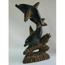 Скульптура дерево Пара дельфинов