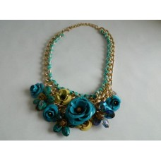 Ожерелье бирюза цепь, цветы
